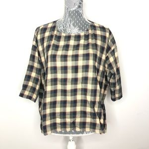 THE GREAT Brown Plaid Flannel Shirt Linen Size 1